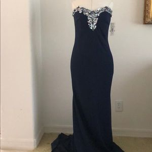 Badgley Mischka collection navy gown